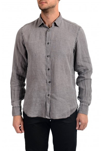 Malo Men's 100% Linen Gray Long Sleeve Dress Shirt