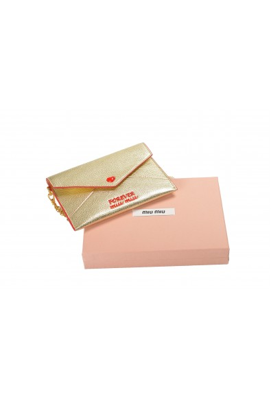 "Miu Miu Women's Gold ""Madras Forever"" Envelope Snap Heart Wristlet Wallet: Picture 2"