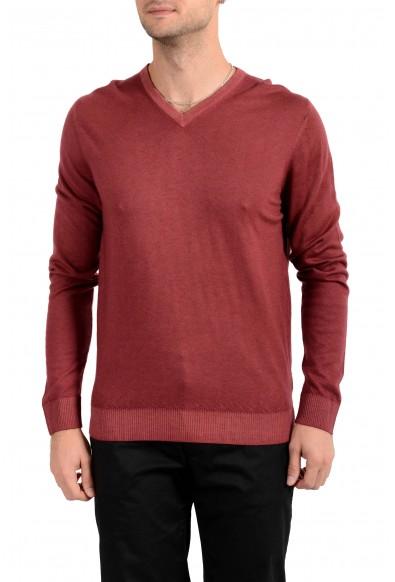 Kiton Napoli Men's Burgundy V-Neck 100% Cashmere Pullover Sweater