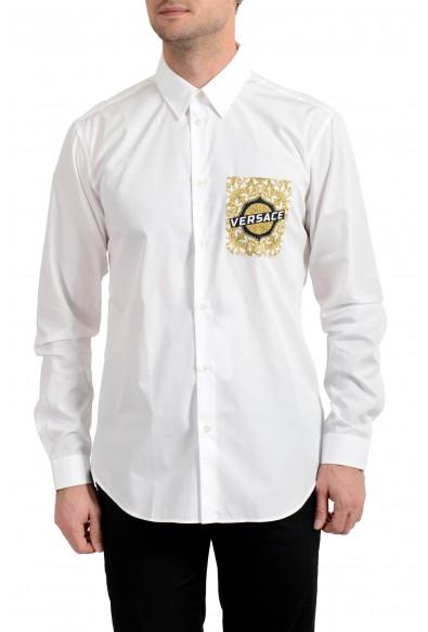 Versace Men's White Barocco Print Long Sleeve Dress Shirt