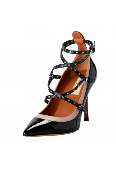 Valentino Garavani Women's Patent Leather Two Tones Ankle Strap High Heels Shoes