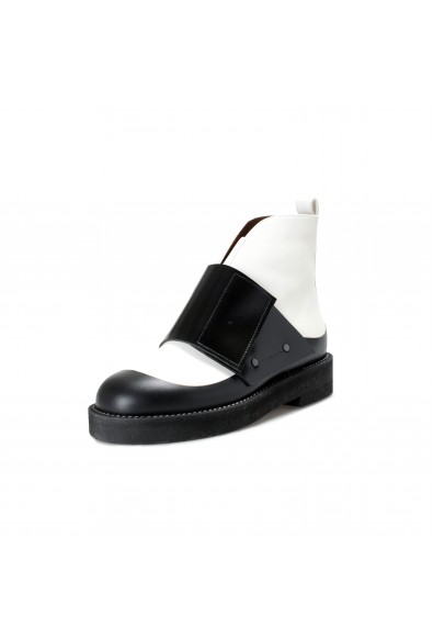 Marni Women's Black & White Leather Ankle Boots Shoes