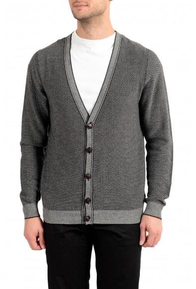 Kiton Men's White & Black Silk Cashmere Cardigan Sweater
