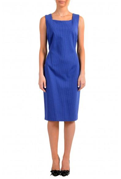 """Hugo Boss Women's """"Davenara"""" Blue Zip Up Sleeveless Pencil Dress"""