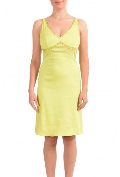 Versace Jeans Couture Women's Lime Green Linen Bodycon Dress