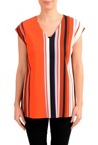 """Hugo Boss Women's """"Indromadae"""" Multi-Color Striped Blouse Top"""