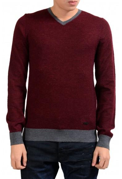 Armani Collezioni Men's Wool Mohair Burgundy V-Neck Sweater