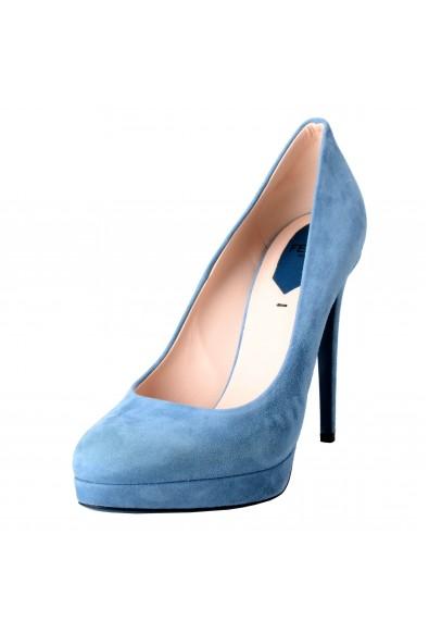 Fendi Women's Suede Blue Platform High Heels Pumps Shoes