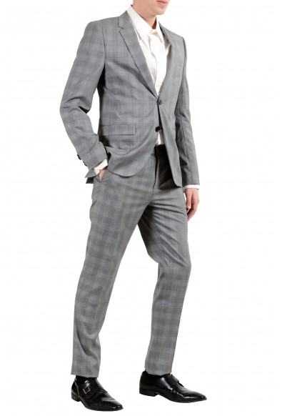 """Hugo Boss """"Astian/Hets182"""" Men's 100% Wool Extra Slim Plaid Gray Two Button Suit: Picture 2"""