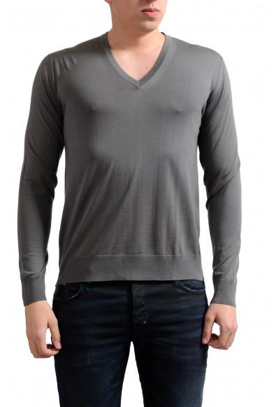 Prada Men's 100% Wool Gray V-Neck Pullover Sweater