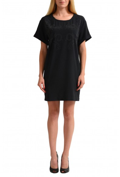 Versace Jeans Black Beads Decorated Women's Shift Dress