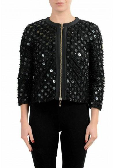 Moncler Gamme Rouge Women's KARI Black Silk Embellished Blazer