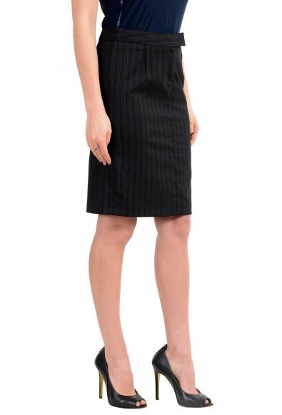 John Galliano Women's Black Wool Striped Pencil Skirt : Picture 2