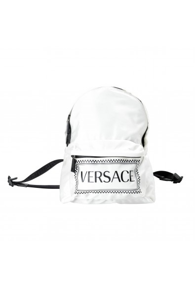 Versace Women's White Logo Canvas Small Backpack Bag