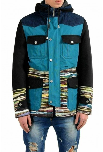 Just Cavalli Men's Multi-Color Full Zip Hooded Jacket