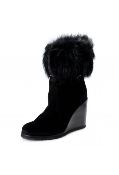 Salvatore Ferragamo Women's SONDRIO Suede Fur Wedge Boots Shoes