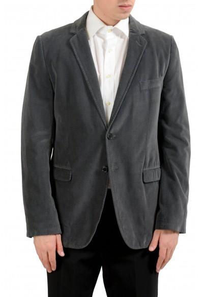 Dolce & Gabbana Men's Gray Velour Two Button Blazer Sport Coat