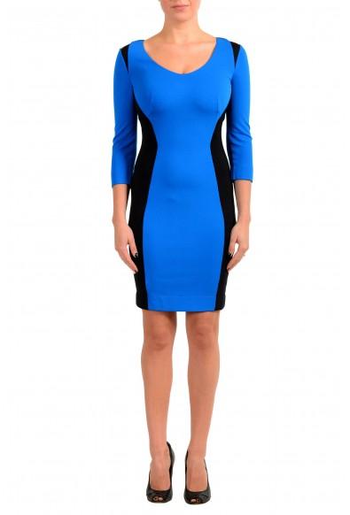 Just Cavalli Women's Blue & Black 3/4 Sleeve Bodycon Dress