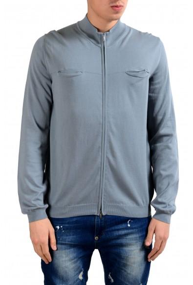 Malo Men's Stone Blue Full Zip Light Sweater