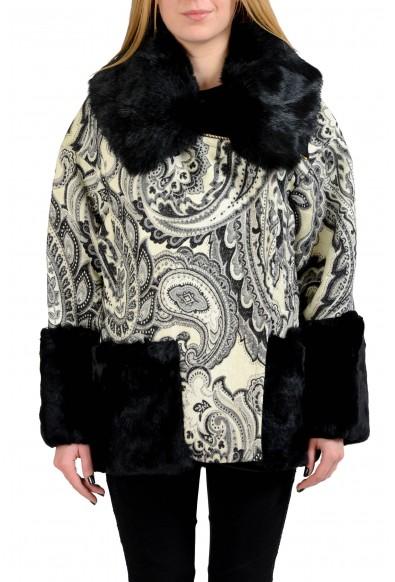 Just Cavalli Wool Multi-Color Rabbit Hair Women's Basic Jacket
