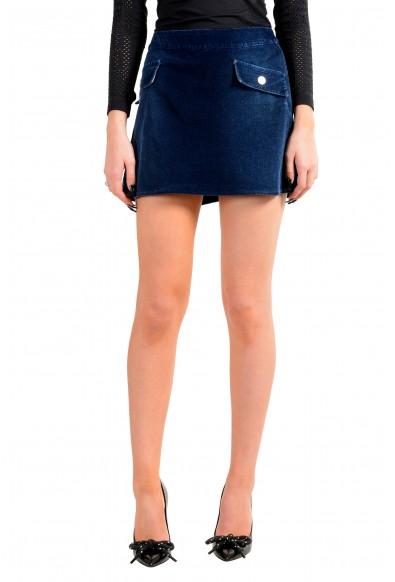 Versace Jeans Couture Women's Blue Corduroy Mini Skirt