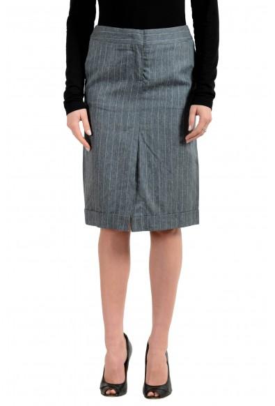 Malo Women's Linen Silk Striped Straight Skirt