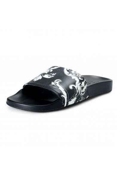 Versace Men's Black Floral Leather Slides Flip Flops Sandals Shoes