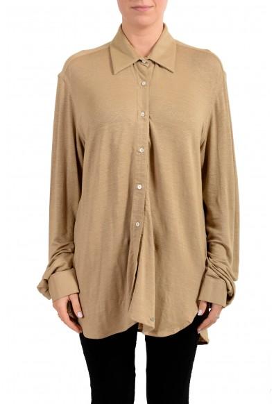 Malo Women's Brown Linen Button Down Blouse Top