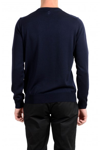 Roberto Cavalli Men's 100% Wool Navy Blue Geometric Print Crewneck Sweater: Picture 2
