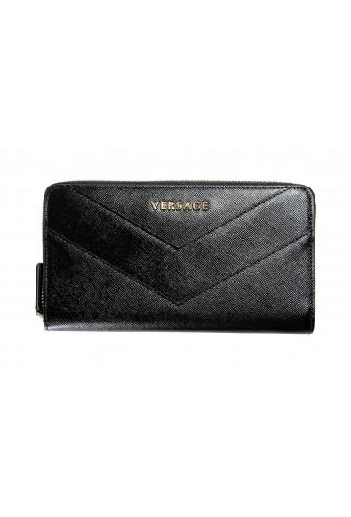 Versace Women's Black Saffiano Leather Zip Around Wallet