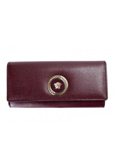 Versace 100% Leather Burgundy Logo Embellished Women's Wallet