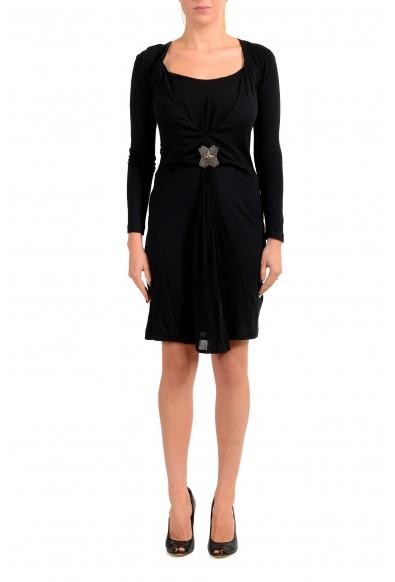 Just Cavalli Women's Black Wool Long Sleeve Mini Dress