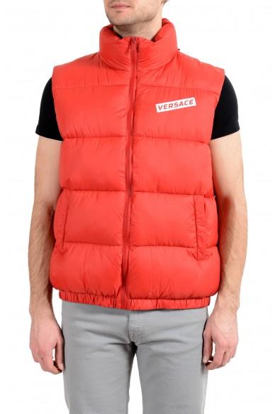 Versace Men's Red Logo Full Zip Sleeveless Parka Vest