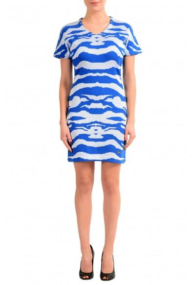 Just Cavalli Multi-Color Short Sleeve V-Neck Women's Sheath Dress