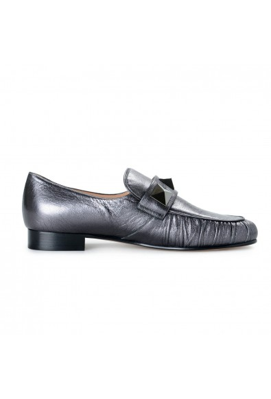 Valentino Garavani Women's Silver Gray Leather Loafers Flats Shoes: Picture 2