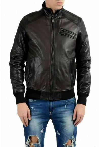 Just Cavalli Men's 100% Leather Two Tones Full Zip Jacket