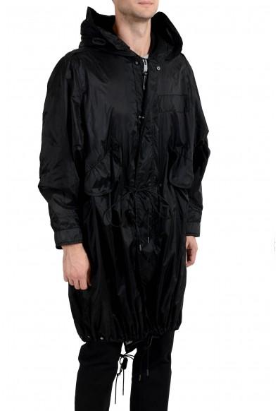Burberry Men's Black Full Zip Hooded Adjustable Windbreaker Coat: Picture 2