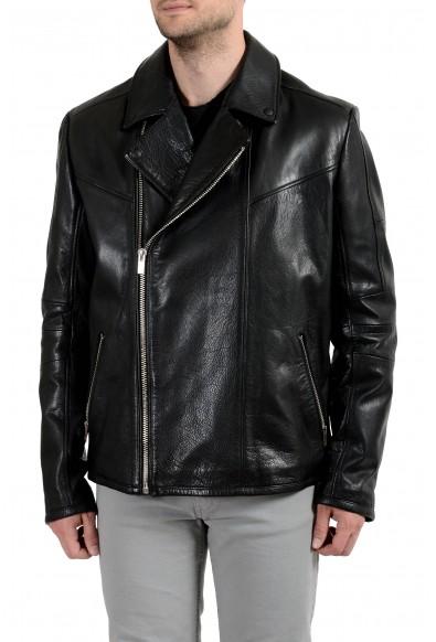 "Hugo Boss ""Lanster"" Men's 100% Leather Shearling Black Jacket"