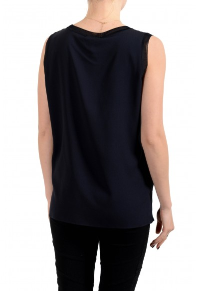 """Hugo Boss Women's """"Istora"""" Blue Silk Sleeveless Blouse Top Shirt: Picture 2"""