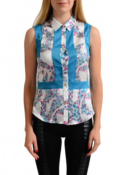 Versace Jeans 100% Silk Multi-Color Floral Sleeveless Button Down Shirt