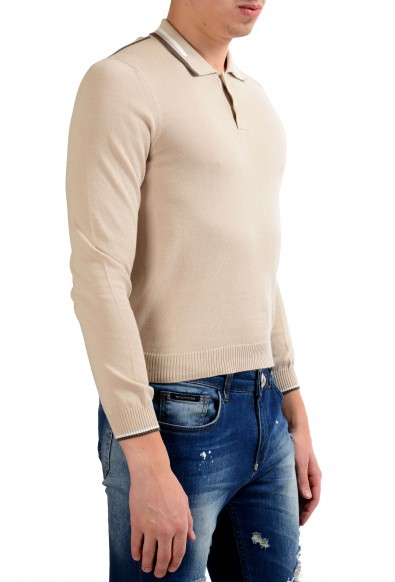 Malo Men's Beige Long Sleeve Polo Sweater: Picture 2