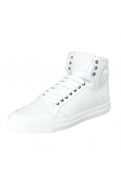 Versace Men's White Leather Medusa Hi Top Fashion Sneakers Shoes