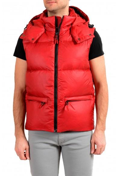 """Hugo Boss """"Dromus"""" Men's Full Zip Red Down Hooded Vest"""