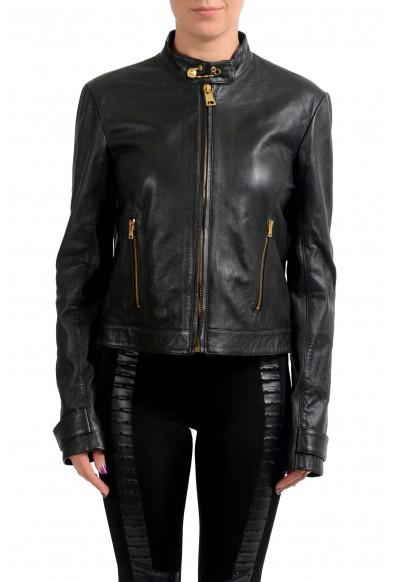 Versace Versus 100% Leather Black Full Zip Women's Basic Jacket