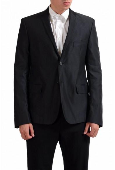 Exte Men's Black Striped Two Button Blazer Sport Coat
