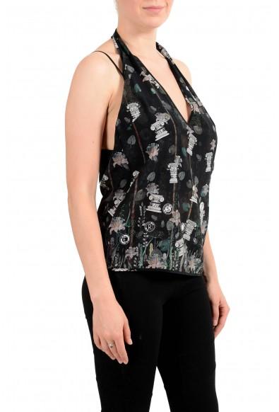 Versus By Versace Women's 100% Silk Multi-Color Blouse Halter Top: Picture 2