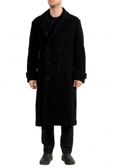 "Hugo Boss Men's ""Godeon-J"" Black Wool Double Breasted Coat"
