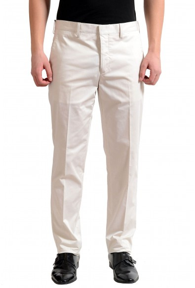 Prada Men's Off White Flat Front Dress Pants