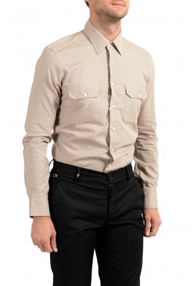 Malo Men's Beige Long Sleeve Dress Shirt : Picture 2