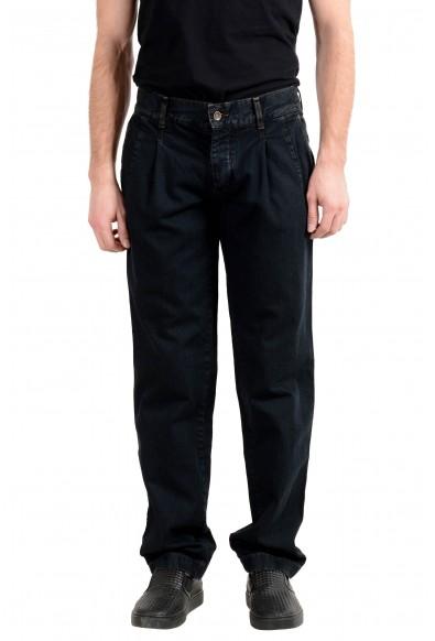 Dolce & Gabbana Men's Off Black Pleated Front Denim Casual Pants